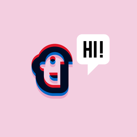 human face: Man saying hi. 3d effect character with expressive interjection in speech bubble