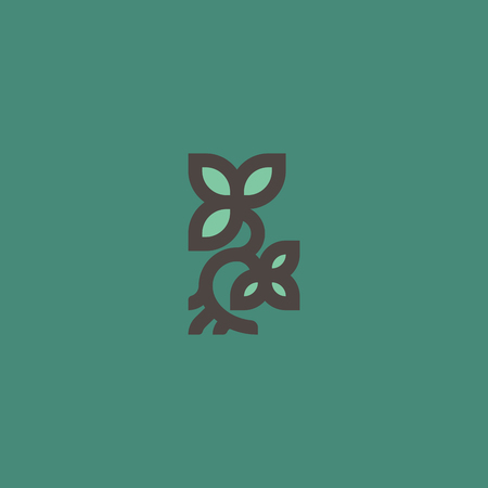 icon: Small plant with leaves and root. Line logo template or icon