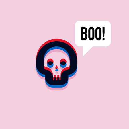 style: Skull saying boo. 3d effect character with expressive interjection in speech bubble Illustration