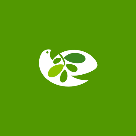 white: Peace dove with olive branch on green background. Elegant vector logo mark template or icon