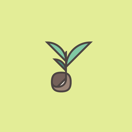 Modern line logo mark templates or icon with sprouting seed