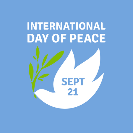 olive green: Greeting card for International day of peace with elegant dove holding olive branch.