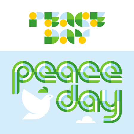 Peace day card with modern lettering and dove holding olive branch.
