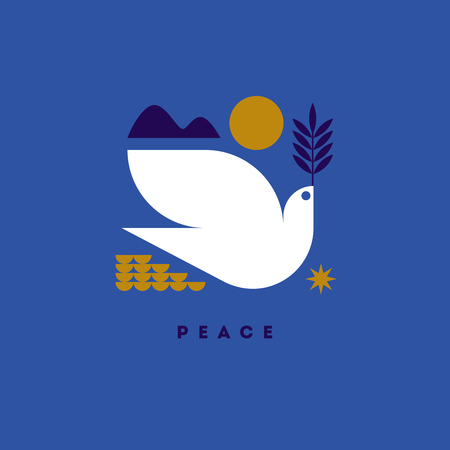 Peace day greeting card with flying dove and symbols of hope Illustration