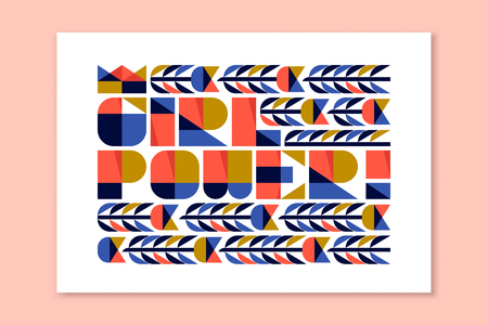 feminist: Modern lettering - girl power. Colorful poster with feminist slogan in flat style