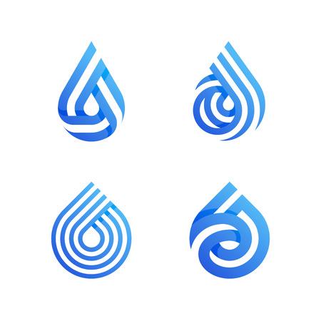 Drops. Elegant vector icons or logo templates set