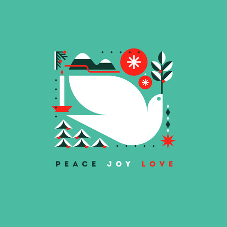 Stylish card with holiday greetings and symbols of Christmas
