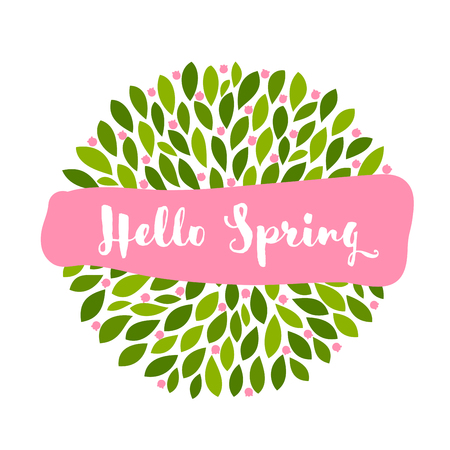 Hello spring lettering on pink banner and cute little flowers with leaves
