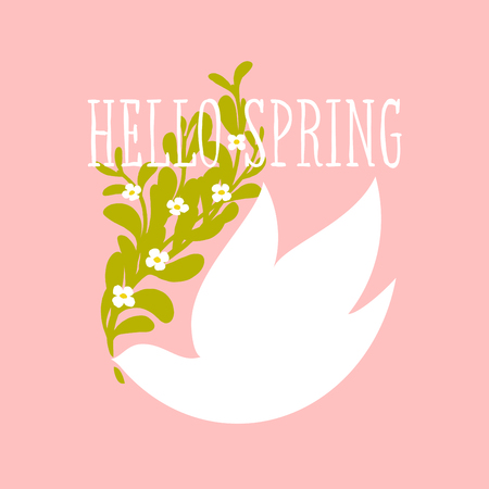 Hello spring text and white bird with flowers on light pink background Illustration