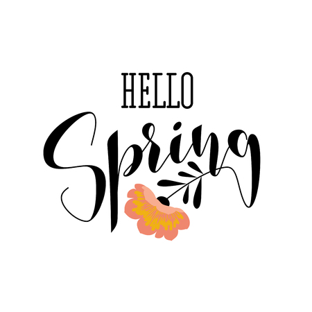 Elegant hello spring lettering and gorgeous pink flower Illustration