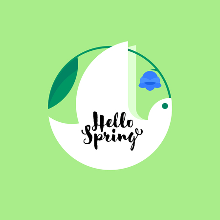 White bird with bluebell flower and cute hello spring lettering Illustration
