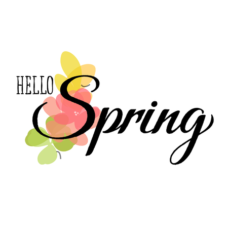 Butterflies, flowers with leaves and grungy hello spring lettering Illustration