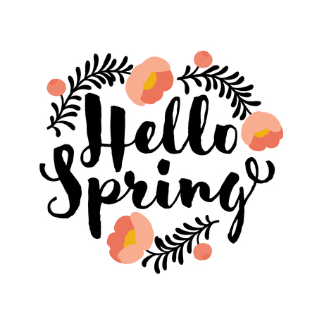 Cute hello spring lettering and coral peony flower