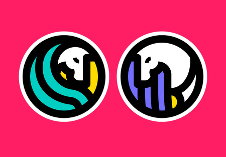 Colorful icon template of horse.
