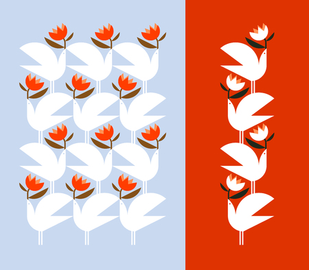 White bird holding red flower. Decorative vector design elements and pattern. Illustration