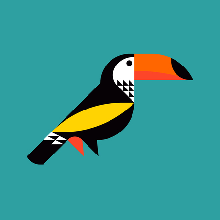 Modern flat style illustration of colorful toucan.