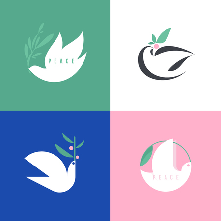 Peace dove. Flat style vector icon or logo template of white pigeon with olive branch