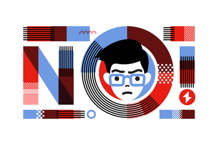 Young angry male character in frame of slogan no lettering. Flat style concept for prohibition or protest. Ilustração