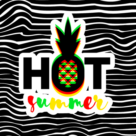 Poster or print with modern geometric pineapple and Hot summer lettering on striped background Illustration