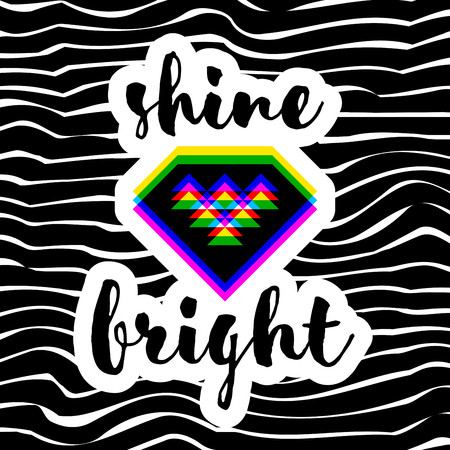 Poster or print with modern geometric diamond and shine bright hand lettering on striped background