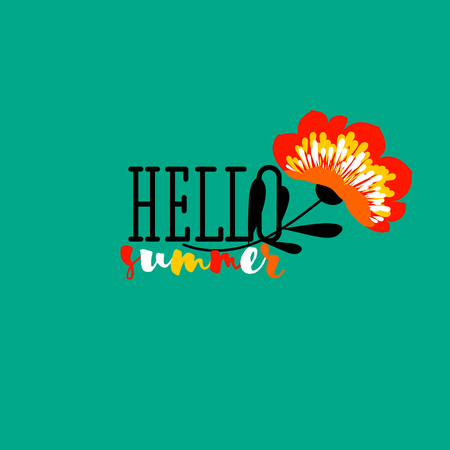 Elegant hello summer lettering and vivid flower on green background Ilustrace