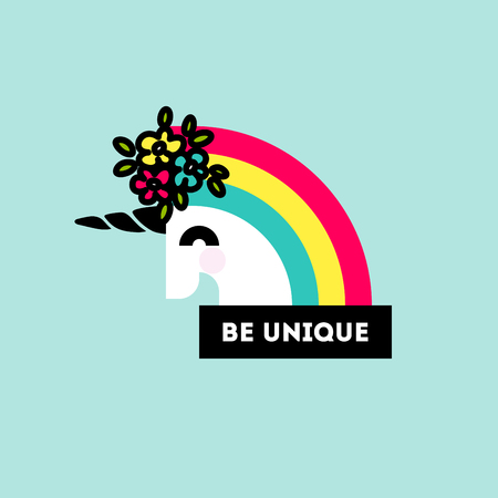 Cute unicorn head with flower arrangement and motivational quote be unique. Flat style poster or sticker