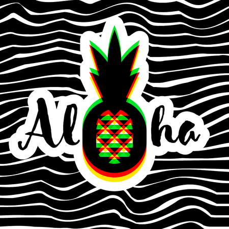 Poster or print with modern geometric pineapple and Aloha hand lettering on striped background Illustration
