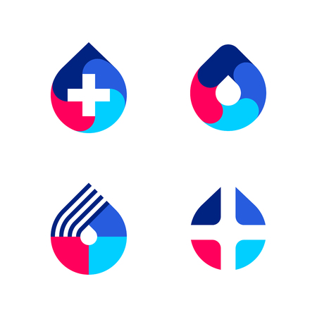 Multicolored drop with white cross. Vector logo mark template or icon for medical laboratory or pharmacy Illustration