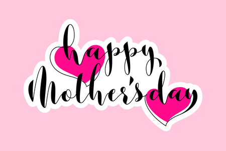 Greeting card with two pink hearts and Happy Mothers Day lettering Illustration