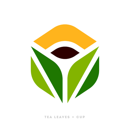 Elegant logo template or icon of green tea leaves with cup of beverage