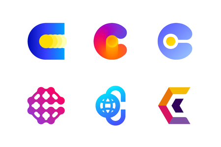 Modern template or icon of abstract letter C for cryptocurrency and blockchain industry