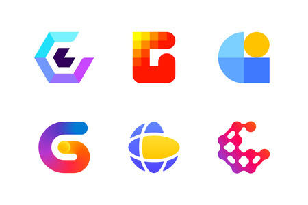 Modern template or icon of abstract letter G for global cryptocurrency and blockchain industry Illustration