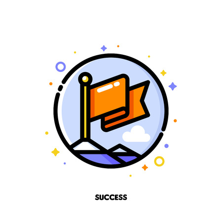 Icon of red flag on mountain peak for success in business concept. Flat filled outline style. Illustration