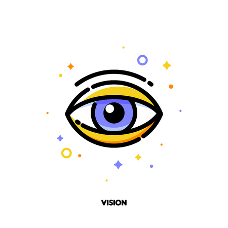 Icon of human eye for business vision concept. Flat filled outline style. Illustration