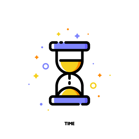 Icon of hourglass for business time concept. Flat filled outline style.