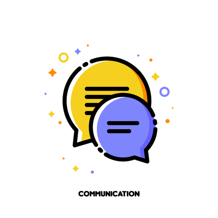 Social network communication concept. Icon with two speech bubbles of chat messages. Flat filled outline style.