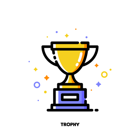 Icon of golden trophy cup for success or winner concept. Flat filled outline style.