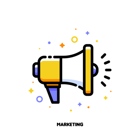 Digital media marketing business icon with megaphone. Flat filled outline style.