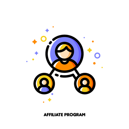 Affiliate marketing, partner program or referrals network concept. Icon with group of people. Flat filled outline style.