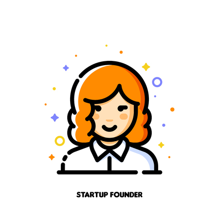 Female user avatar of startup founder. Icon of cute girl face. Flat filled outline style.