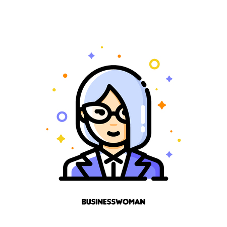 Female user avatar of businesswoman. Icon of cute girl face. Flat filled outline style.