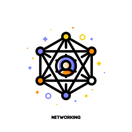 Abstract social network scheme with icons of people who enjoy getting together to connect, share and encourage each other. Illustration
