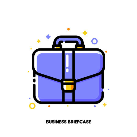 Icon of briefcase for business portfolio concept. Flat filled outline style. Illustration