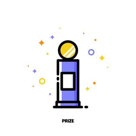Icon of first grand prize for success or winner concept. Flat filled outline style. Illustration