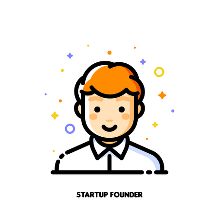 Male user avatar of startup founder. Icon of cute boy face. Flat filled outline style.