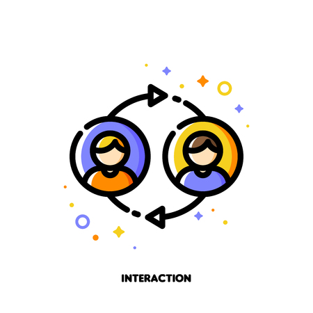 User interaction, people communication or customer discussion concept. Icon with two abstract users. Flat filled outline style. Stock Illustratie