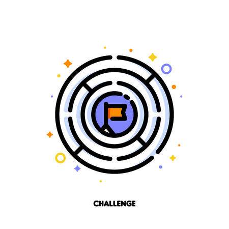 Icon of round labyrinth or maze for business challenge concept. Flat filled outline style.