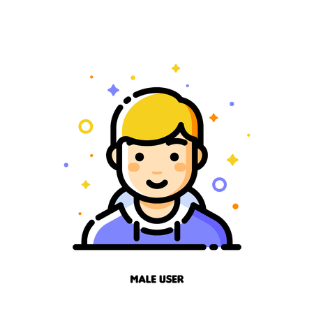 Male user avatar. Icon of cute boy face. Flat filled outline style. Illustration