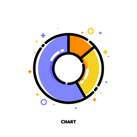 Icon of pie chart with 3 segments for presentations or web design. Circular infographics of 3 steps. Flat filled outline style.