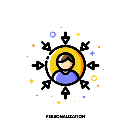 Personalization of social media marketing. Icon with abstract user avatar and arrows. Flat filled outline style. Illustration